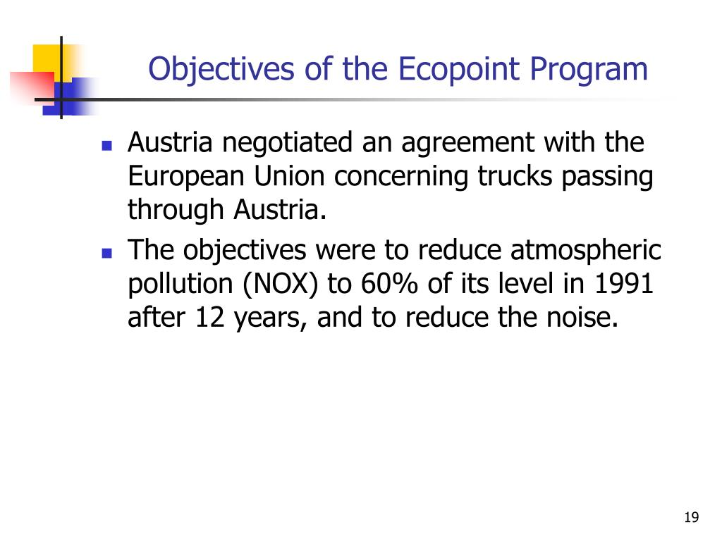 Objectives of the Ecopoint Program