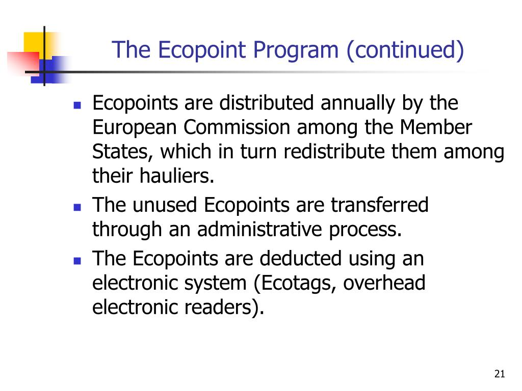 The Ecopoint Program (continued)