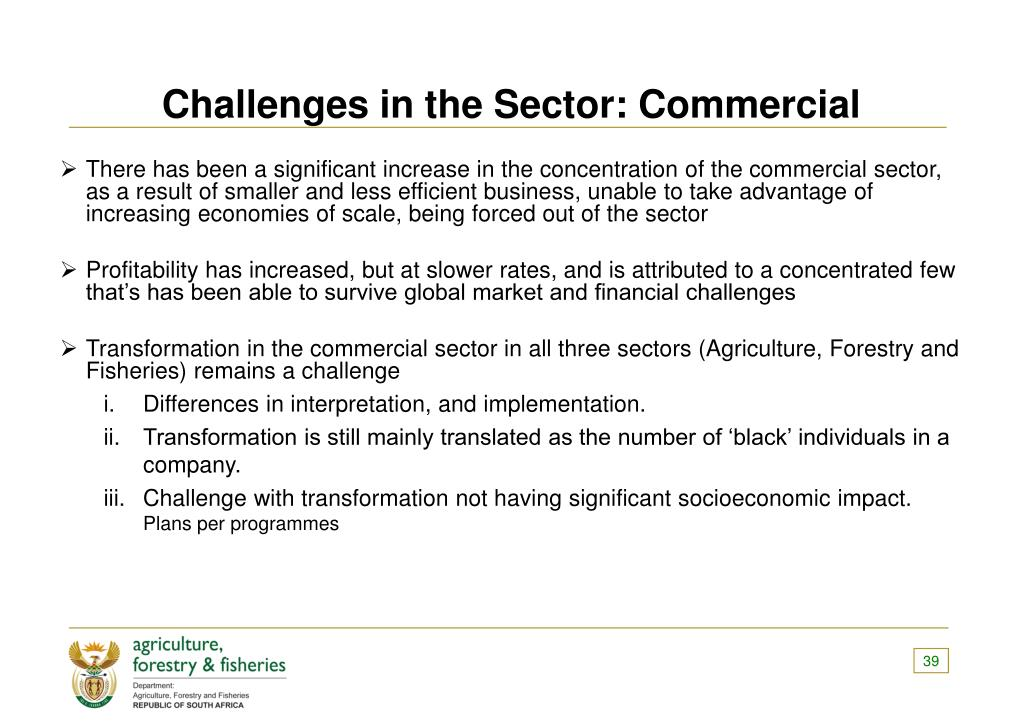 Challenges in the Sector: Commercial
