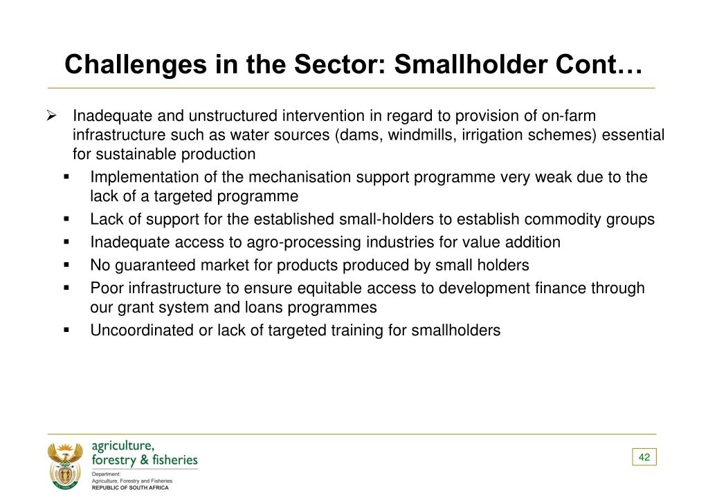 Challenges in the Sector: Smallholder Cont…