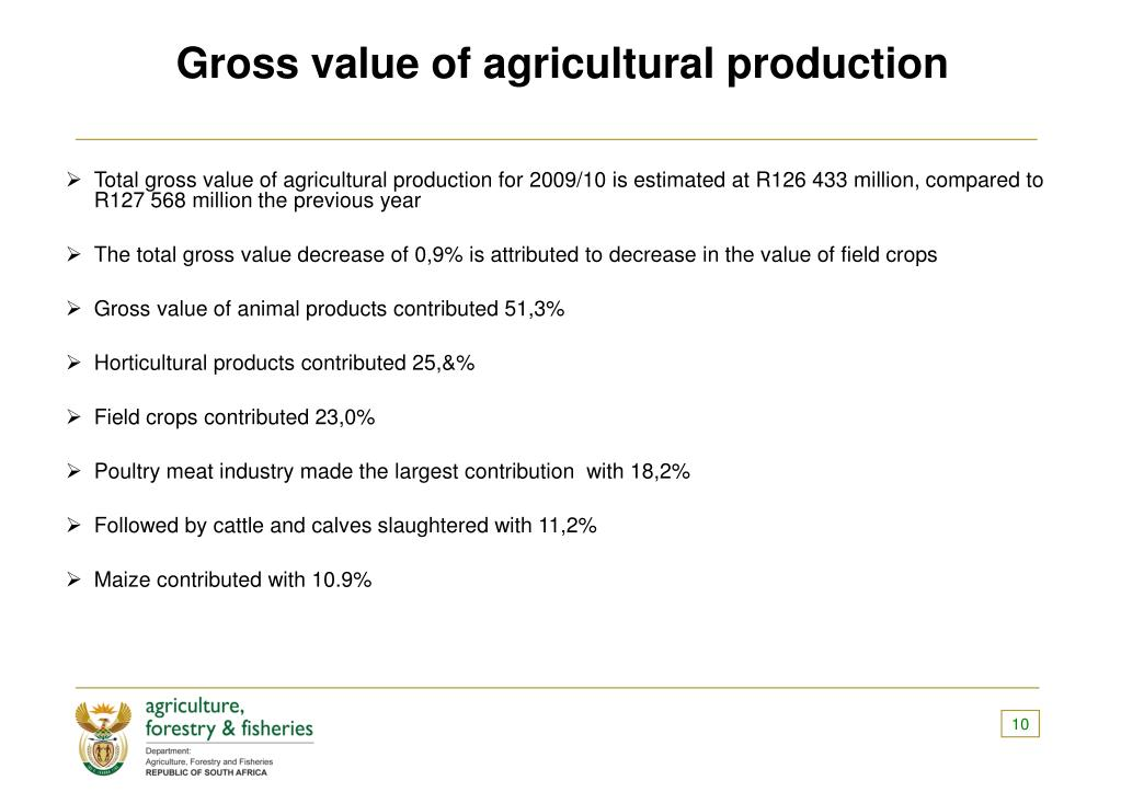 Gross value of agricultural production