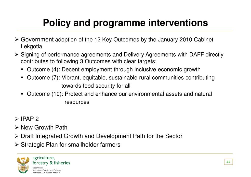 Policy and programme interventions