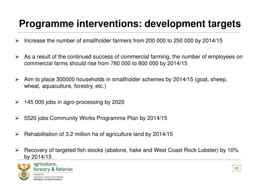 Programme interventions: development targets