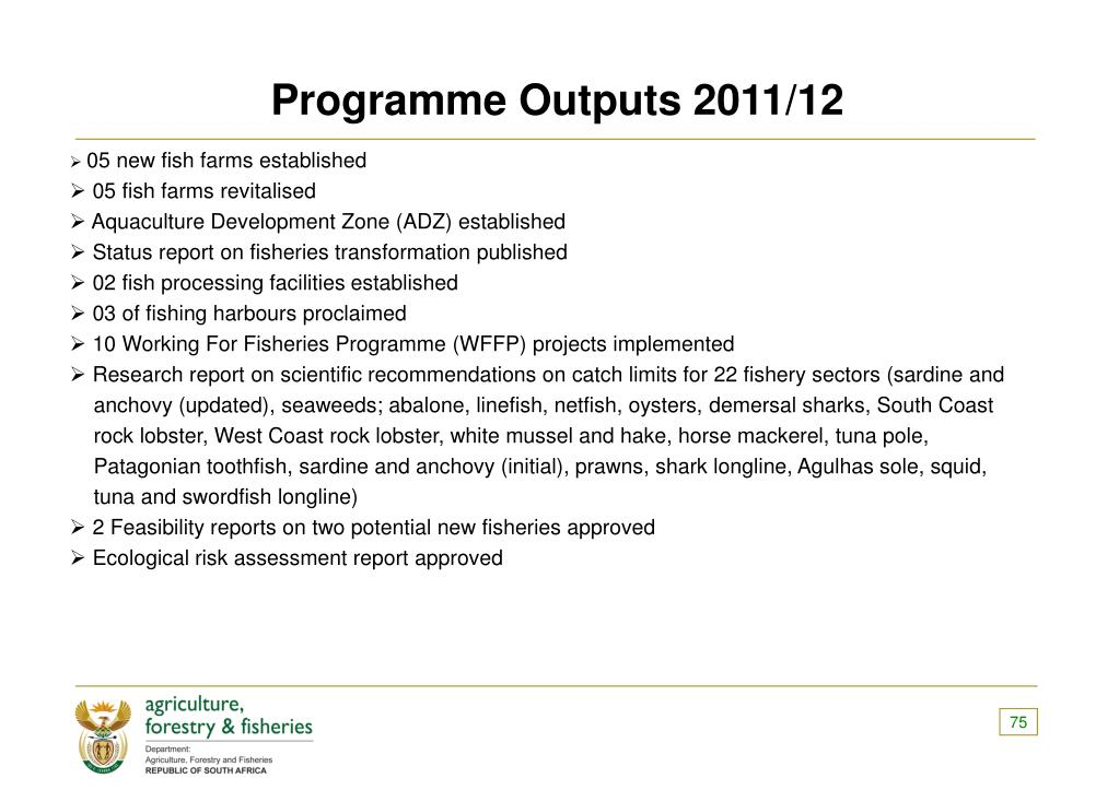 Programme Outputs 2011/12
