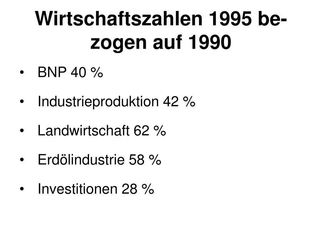 Wirtschaftszahlen 1995 be-zogen auf 1990