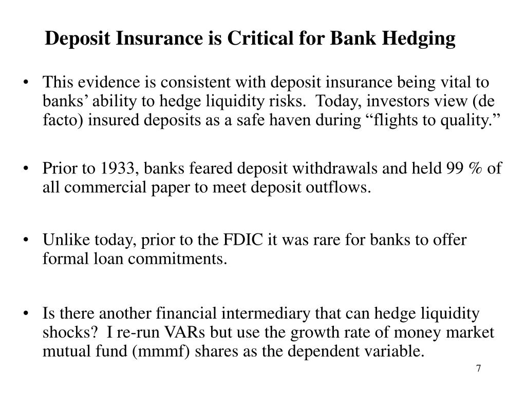 Deposit Insurance is Critical for Bank Hedging