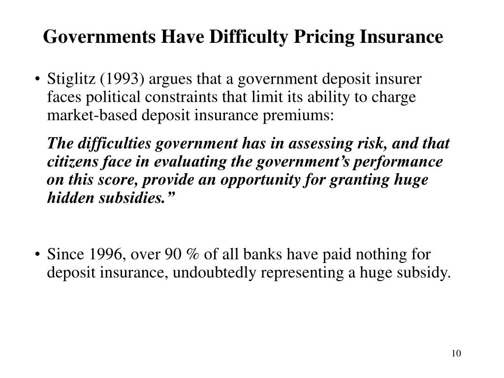 Governments Have Difficulty Pricing Insurance
