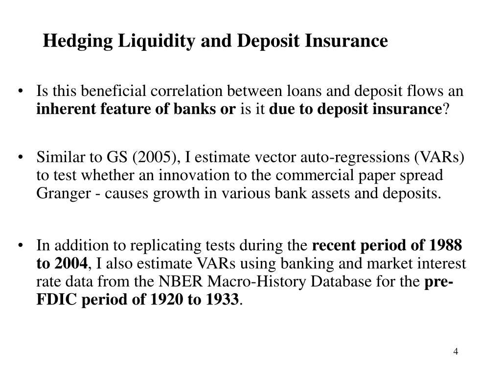 Hedging Liquidity and Deposit Insurance
