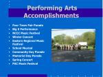 performing arts accomplishments