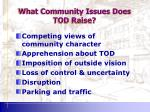 what community issues does tod raise