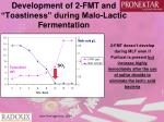 development of 2 fmt and toastiness during malo lactic fermentation