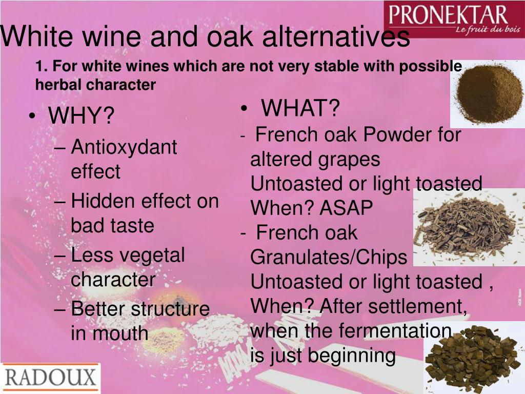 White wine and oak alternatives
