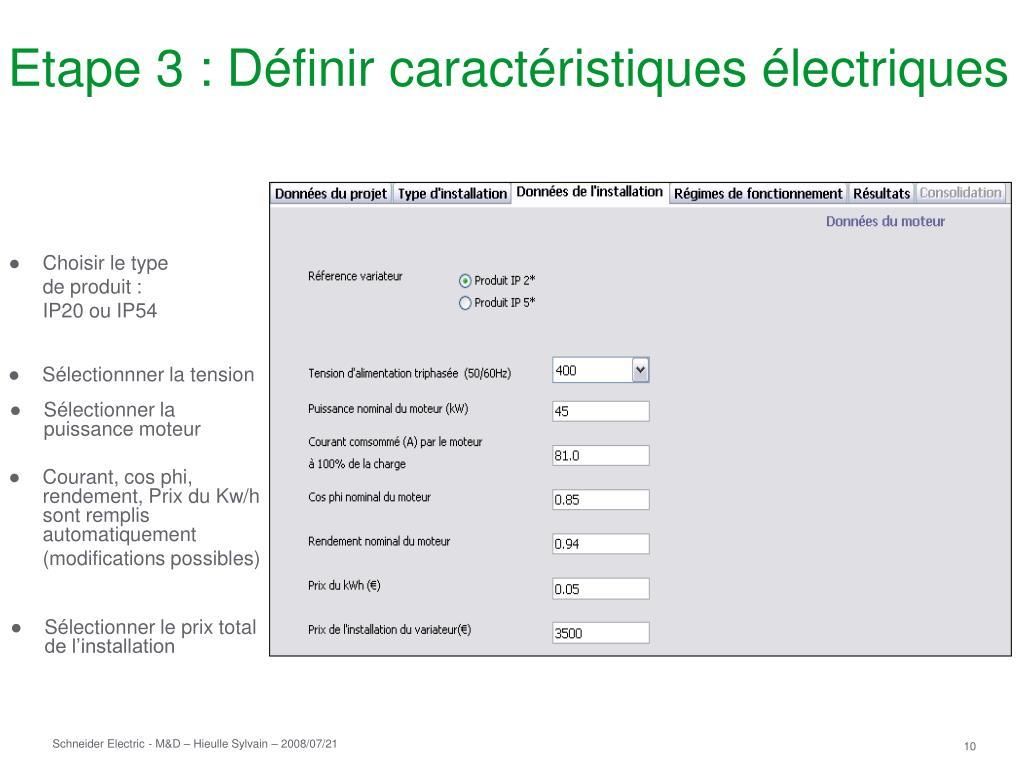 Etape 3 : Définir caractéristiques électriques