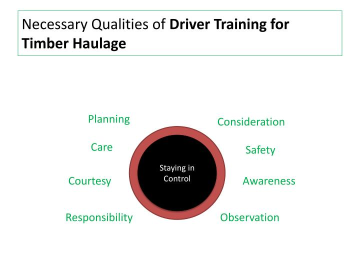 Necessary qualities of driver training for timber haulage