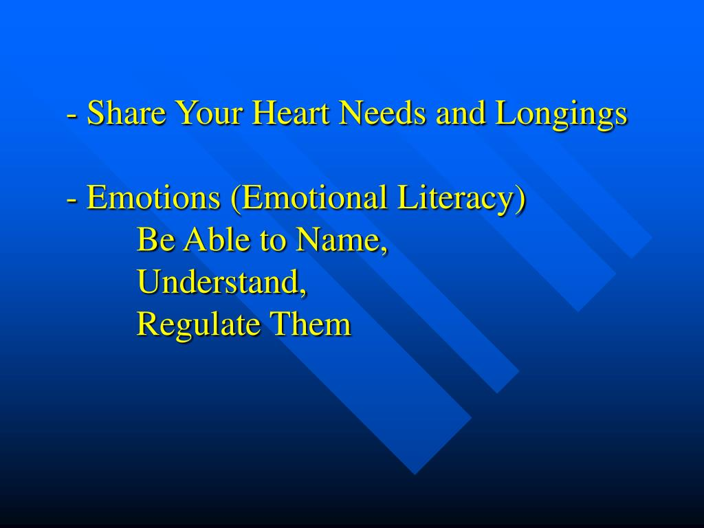 - Share Your Heart Needs and Longings