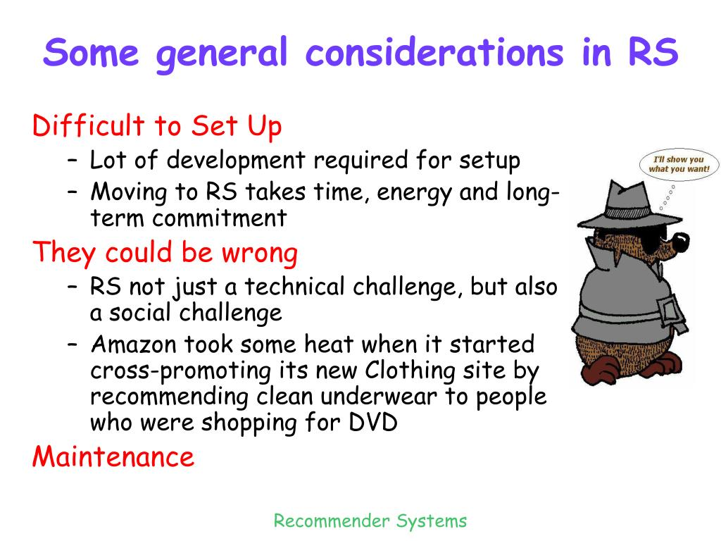 Some general considerations in RS