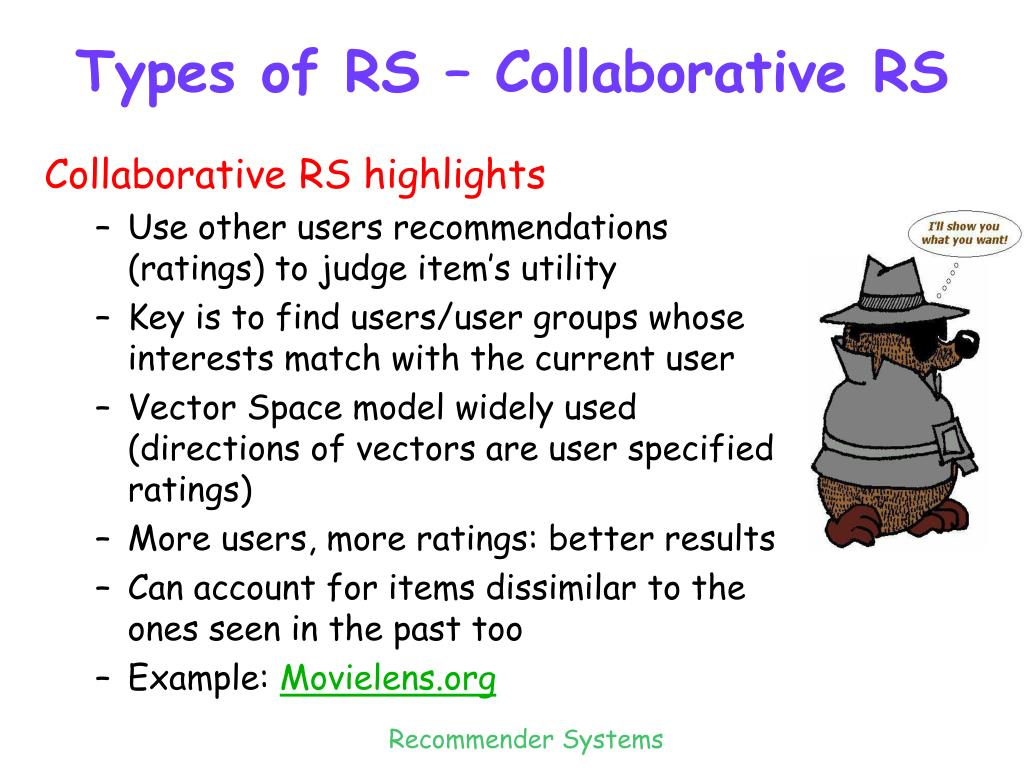 Types of RS – Collaborative RS