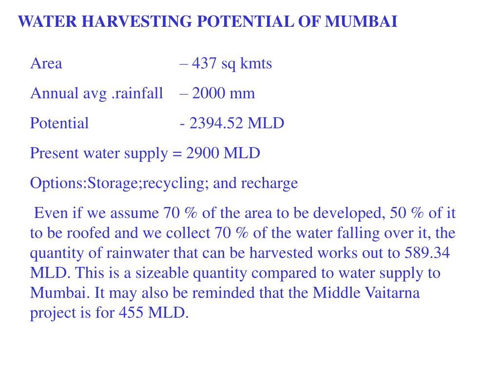 WATER HARVESTING POTENTIAL OF MUMBAI