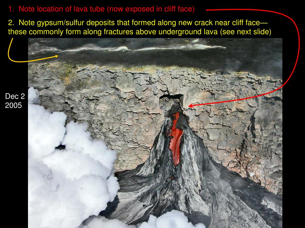 1.  Note location of lava tube (now exposed in cliff face)