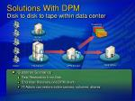 solutions with dpm disk to disk to tape within data center13