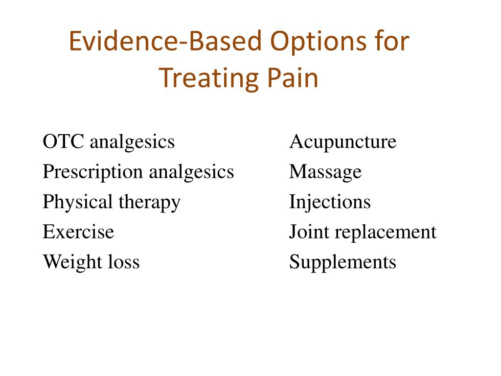 Evidence-Based Options for Treating Pain