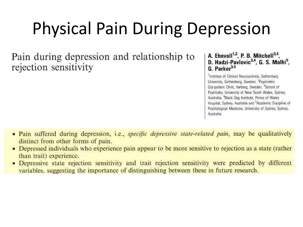 Physical Pain During Depression