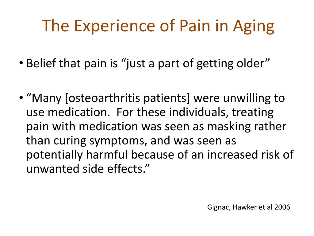 The Experience of Pain in Aging