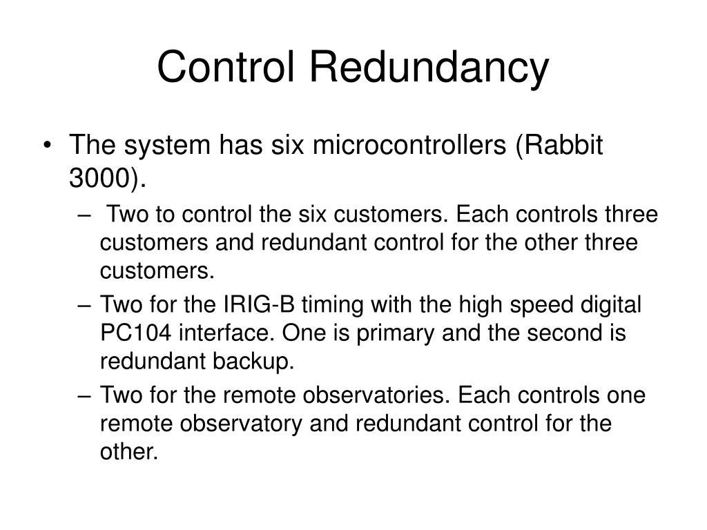 Control Redundancy