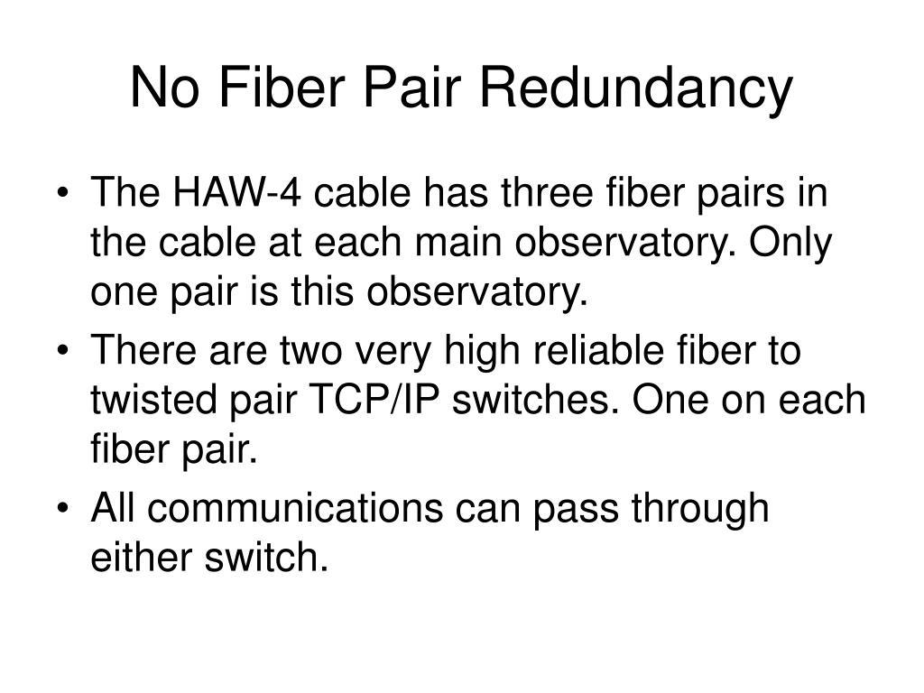No Fiber Pair Redundancy