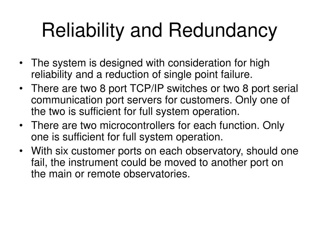 Reliability and Redundancy