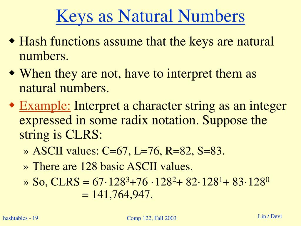 Keys as Natural Numbers