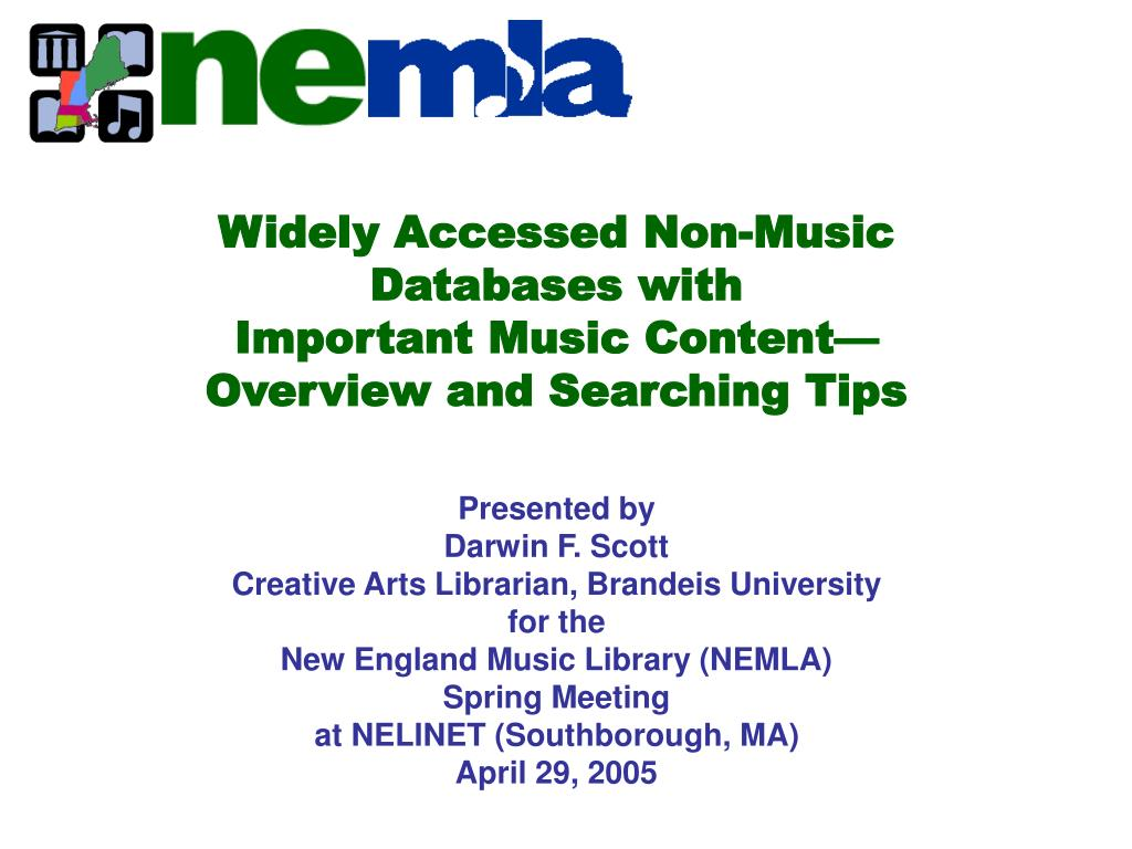 widely accessed non music databases with important music content overview and searching tips l.