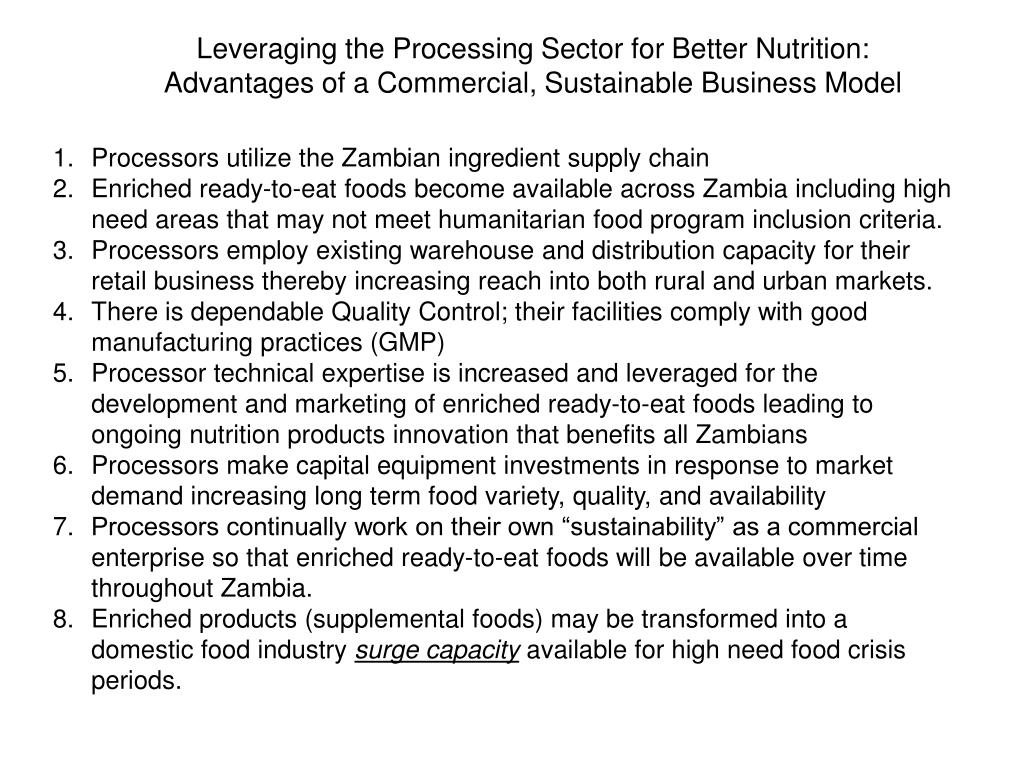 Leveraging the Processing Sector for Better Nutrition: