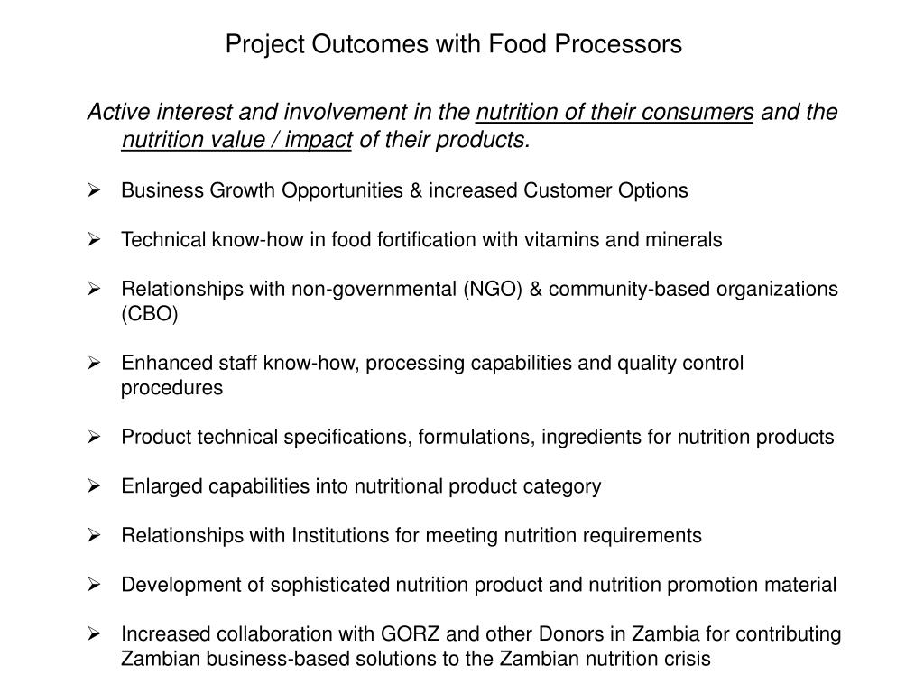 Project Outcomes with Food Processors