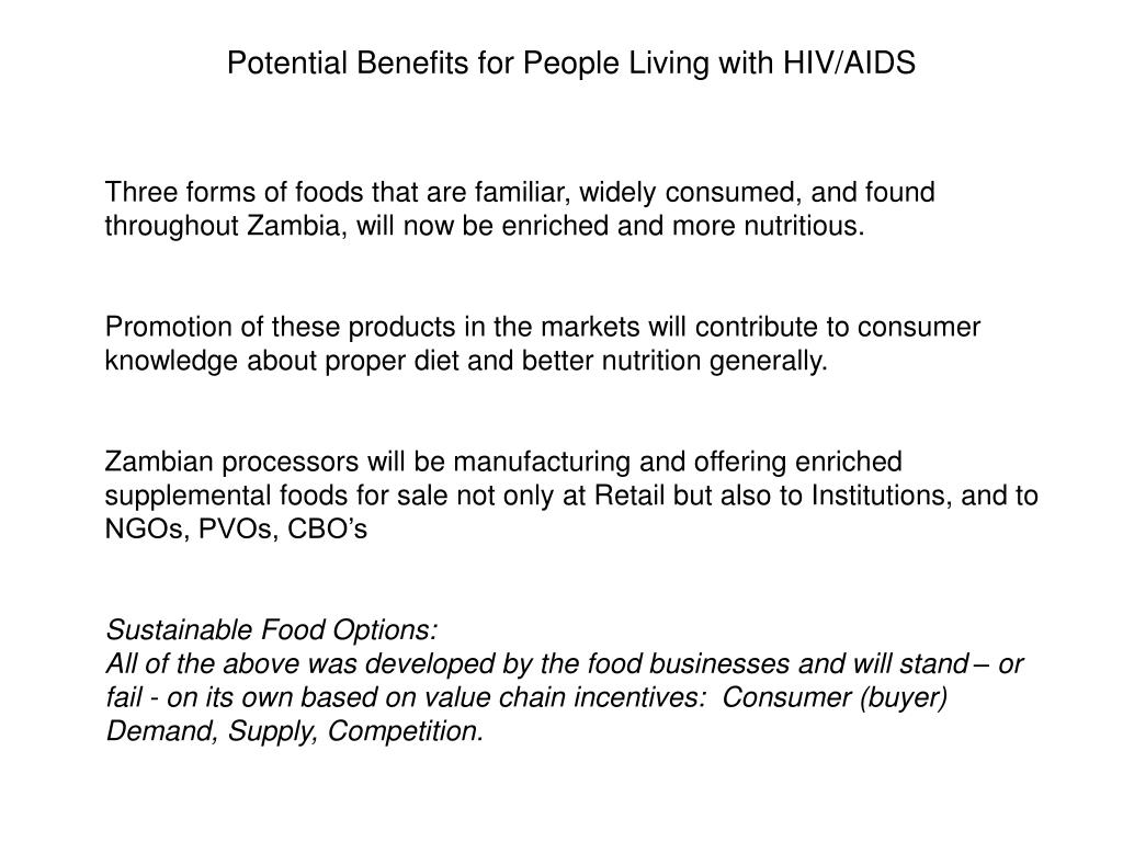 Potential Benefits for People Living with HIV/AIDS