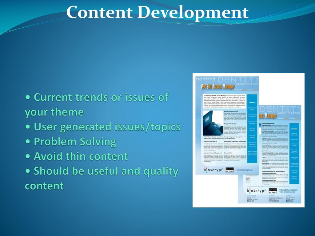 • Current trends or issues of your theme