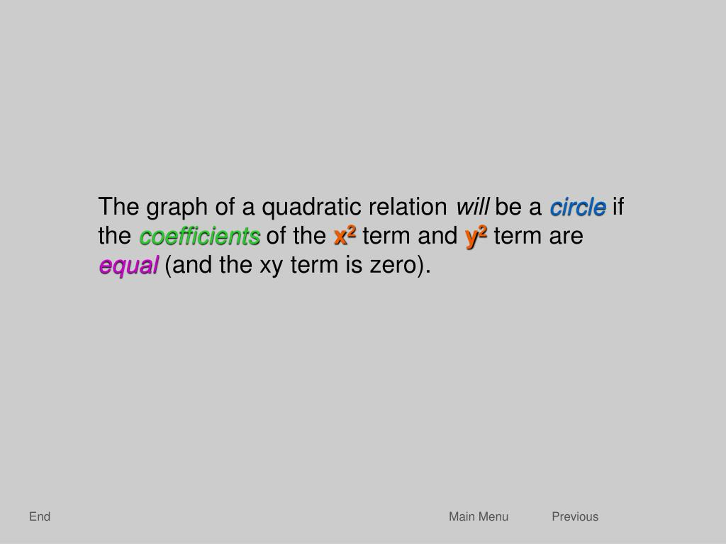 The graph of a quadratic relation