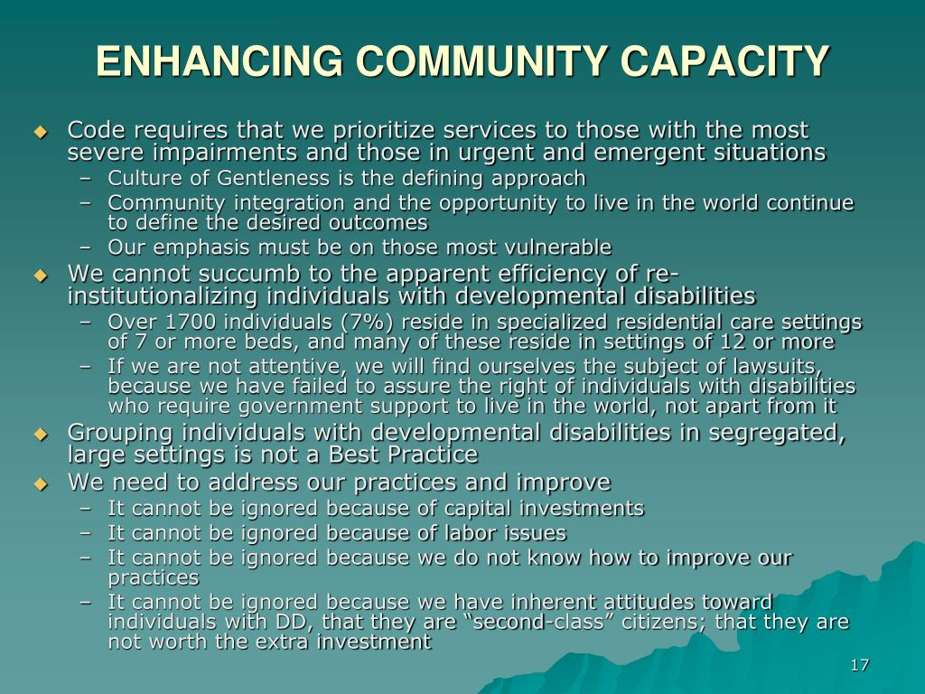 ENHANCING COMMUNITY CAPACITY