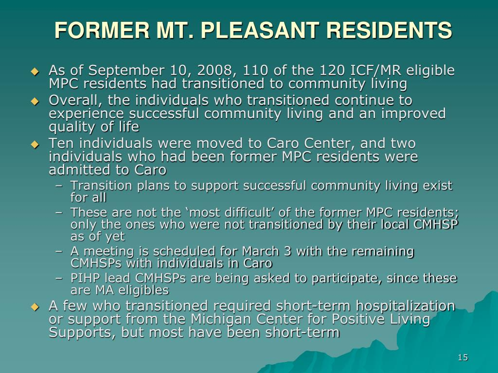 FORMER MT. PLEASANT RESIDENTS