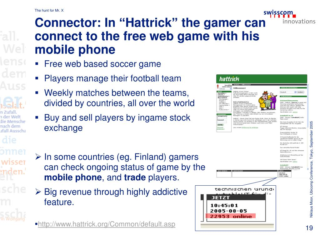 """Connector: In """"Hattrick"""" the gamer can connect to the free web game with his mobile phone"""