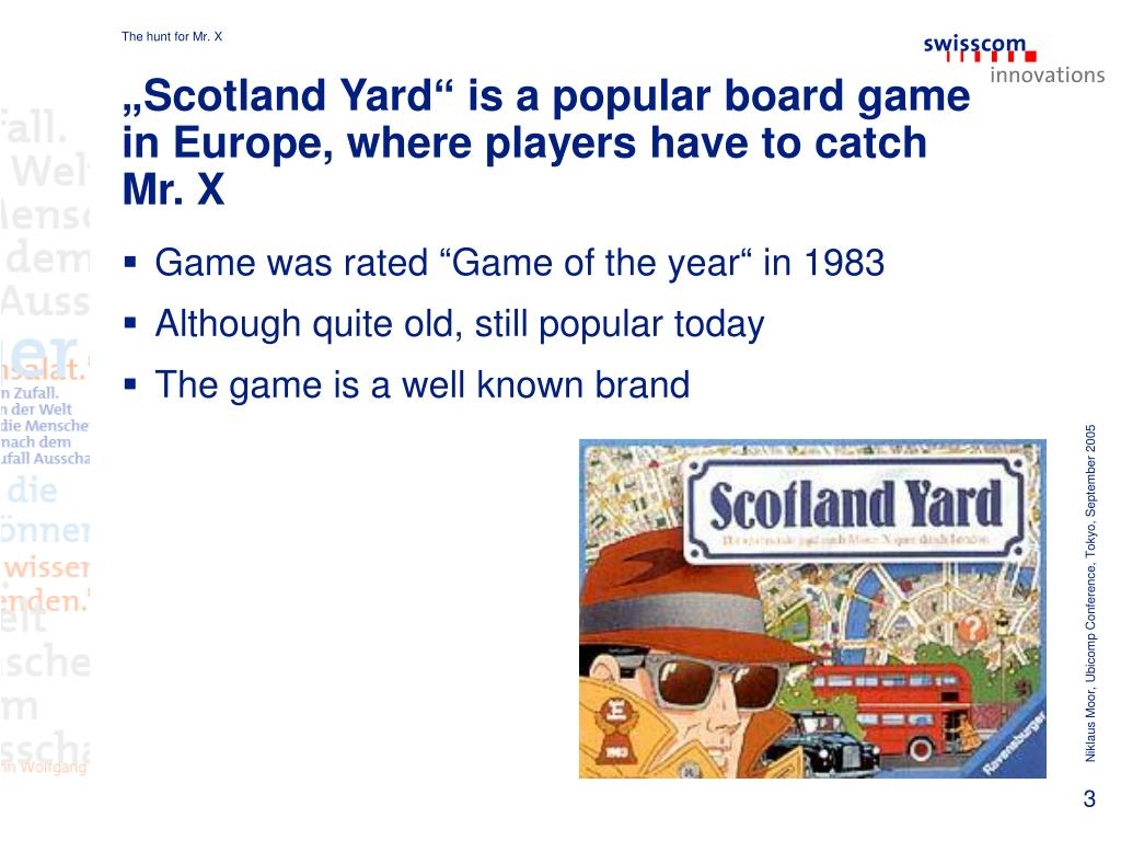 """""""Scotland Yard"""" is a popular board game in Europe, where players have to catch Mr. X"""