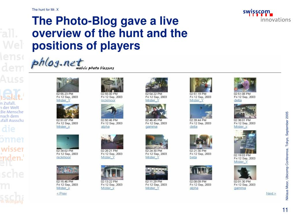 The Photo-Blog gave a live overview of the hunt and the positions of players