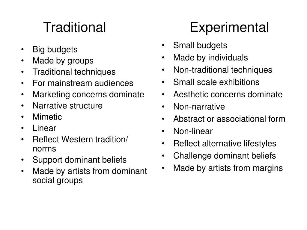 traditional experimental l.