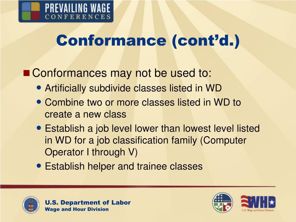 Conformance (cont'd.)