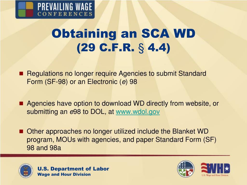 Obtaining an SCA WD
