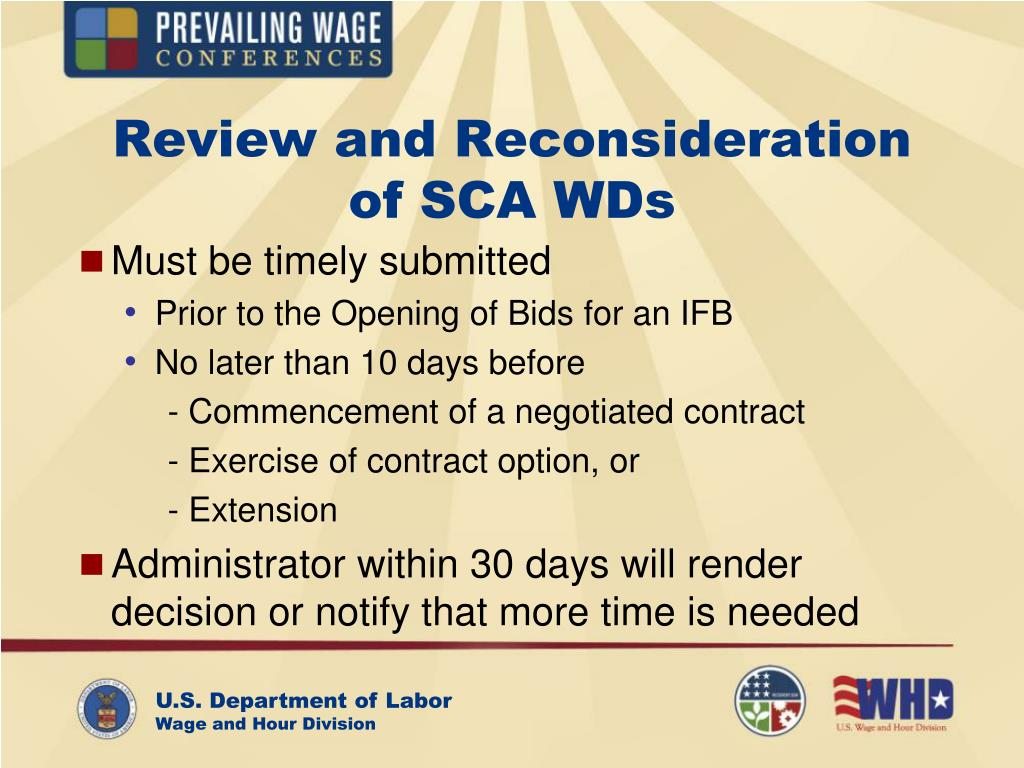 Review and Reconsideration                 of SCA WDs