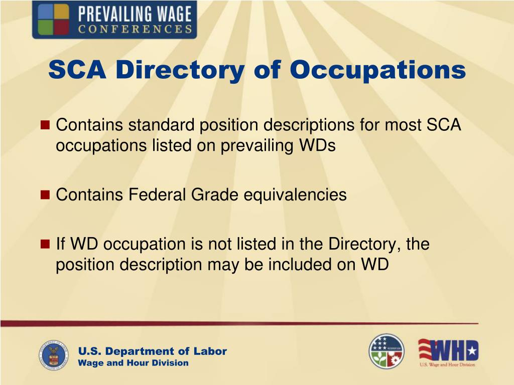 SCA Directory of Occupations