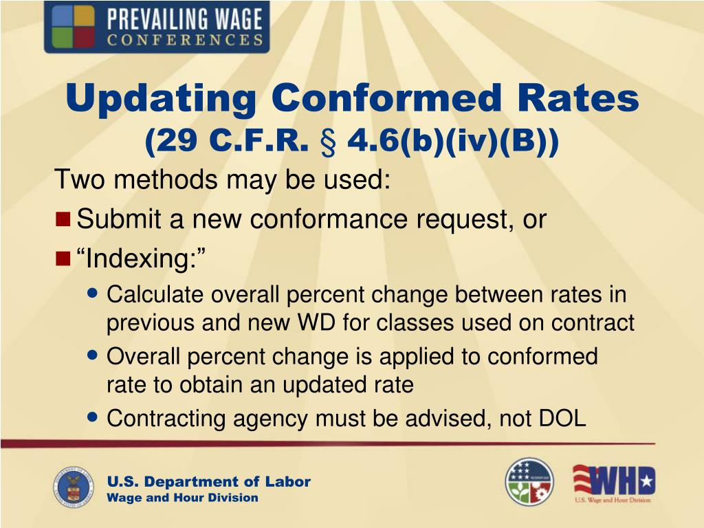 Updating Conformed Rates