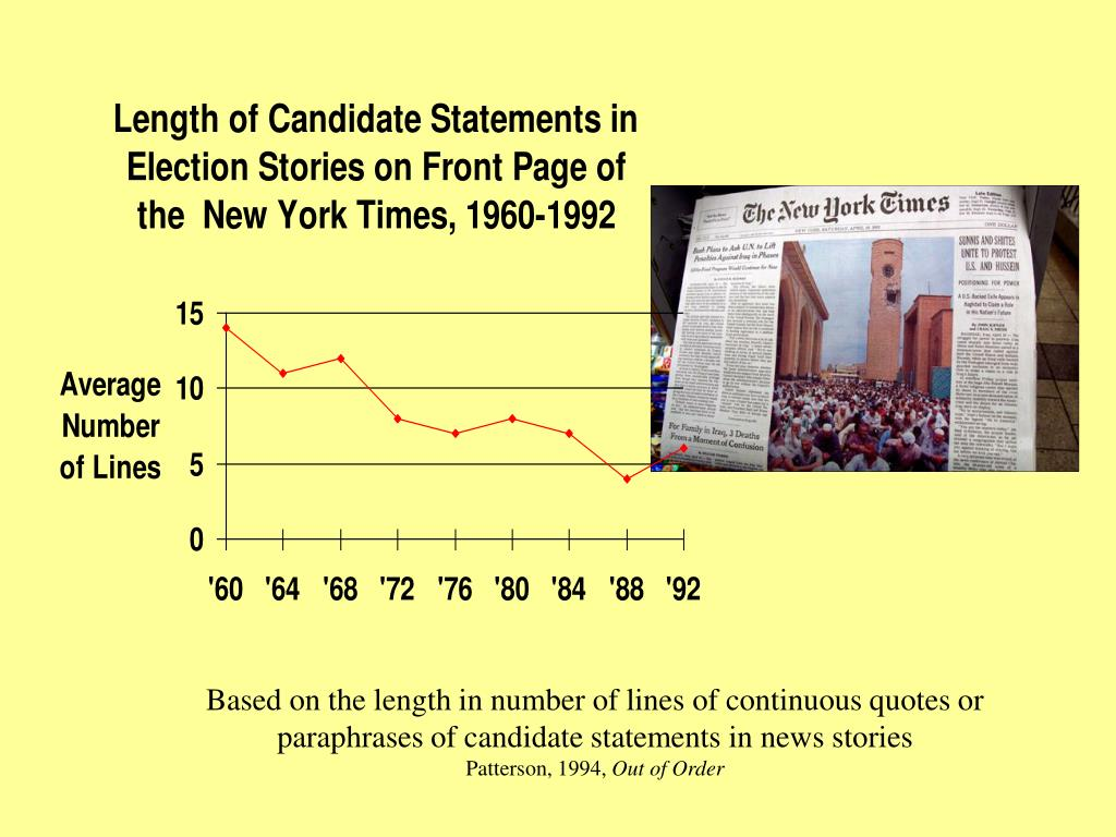 Based on the length in number of lines of continuous quotes or paraphrases of candidate statements in news stories