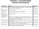 summary local data needs county level analysis